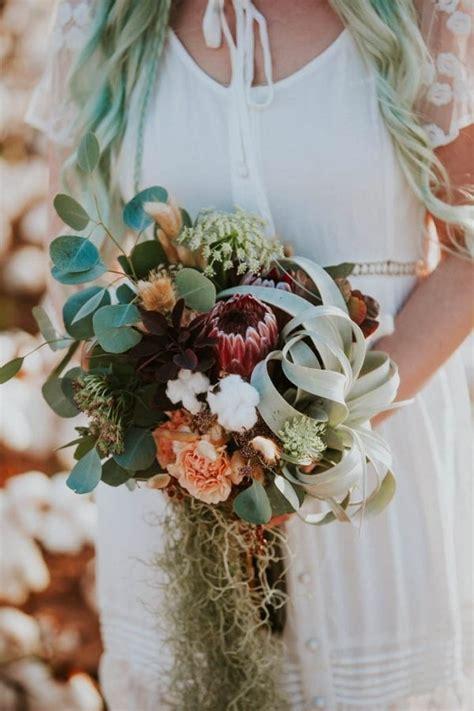 alternative bridal bouquet  air plant protea