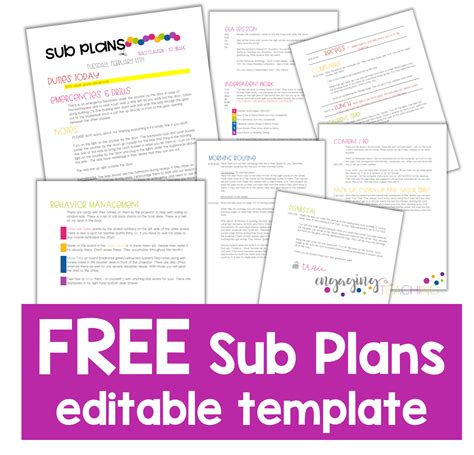 sub plans template hoppin