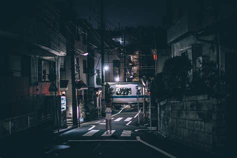 japan street lights night urban dark wallpapers hd