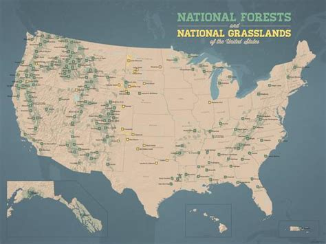 forests poster national map 18x24 grasslands maps usa tan