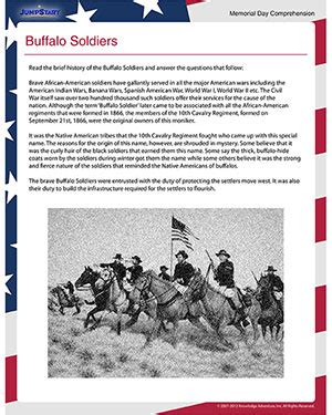 buffalo soldiers free memorial day worksheet for 4th