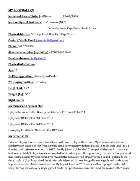 Football Player Cv Resume by My Football Cv