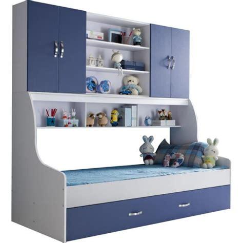 meuble tiroir chambre lit enfant bleu 90x200 avec tiroir et rangement mural