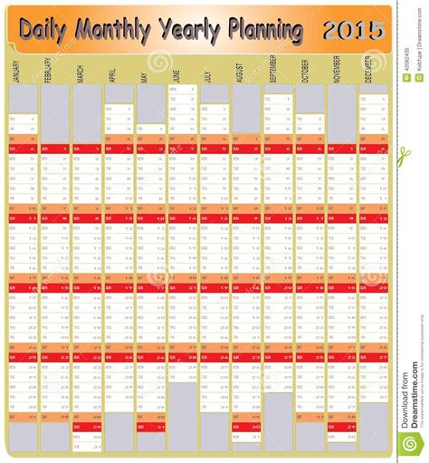 daily monthly yearly  calendar planning chart stock