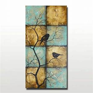 Large Vertical Painting of Birds on Tree Branches Blue and ...