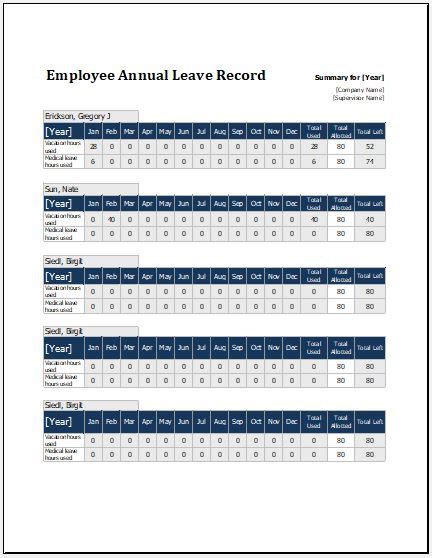 employee annual leave record sheet template formal word