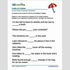Grade 4 Lose Or Loose Vocabulary Worksheet  Education  Vocabulary Worksheets, Vocabulary