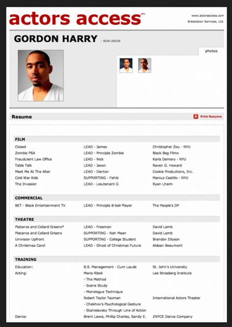 acting resume template  microsoft word  resume