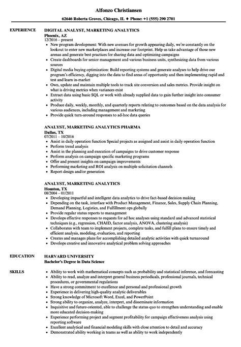 Resume For Analytics by Analyst Marketing Analytics Resume Sles Velvet