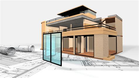 3d House Construction And Blueprint On White Background