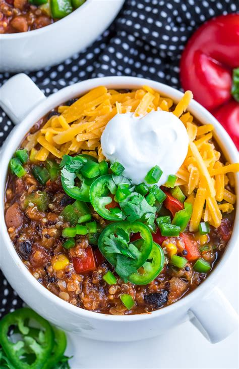 instant pot vegetarian chili healthy quinoa recipes dinner recipe veggie plant food based easy ve things comfort peasandcrayons votes