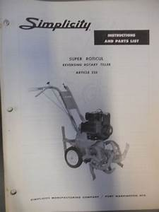 Simplicity Parts List Manual Super Roticul Tiller 233
