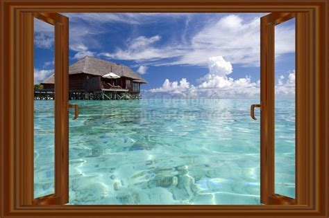 3d Window Ocean View Blue Sea Home Decor Wall Sticker: 3D Window Decal WALL STICKER Home Decor Beach Ocean View