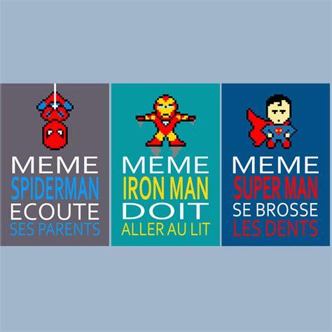 poster pour chambre 3 affiches superheros avec citations pour enfant