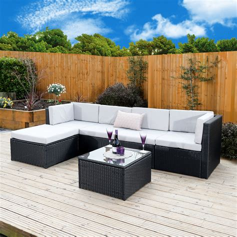 6 barcelona modular rattan corner sofa set from
