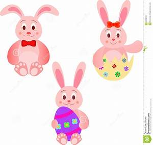Easter Bunnies Illustrations With Easter Eggs Stock ...