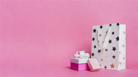 gift boxes  white shopping paper bag  pink