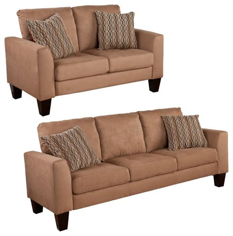 carlton sofa and loveseat 2 set mocha transitional living room furniture sets by