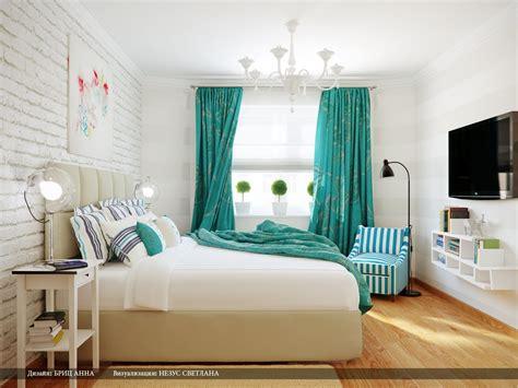 Turquoise White Stripe Bedroom