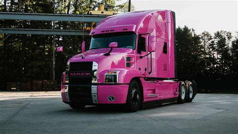 mack trucks showcases pink mack anthem model volvo group