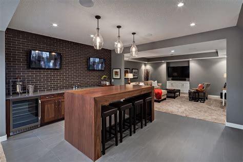 Home Bar Furniture Calgary by Calgary Gray Basement Transitional With Home Bar Pendant