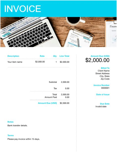 Products to Send International Invoice Template