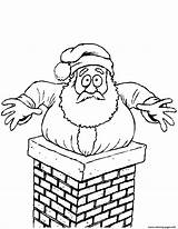 Chimney Santa Stuck Coloring Pages Christmas Drawing Clipart Printable Claus Template Drawings Through Sketch sketch template