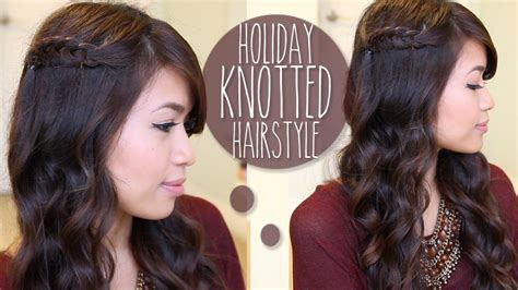 holiday knotted hairstyle  medium long hair tutorial