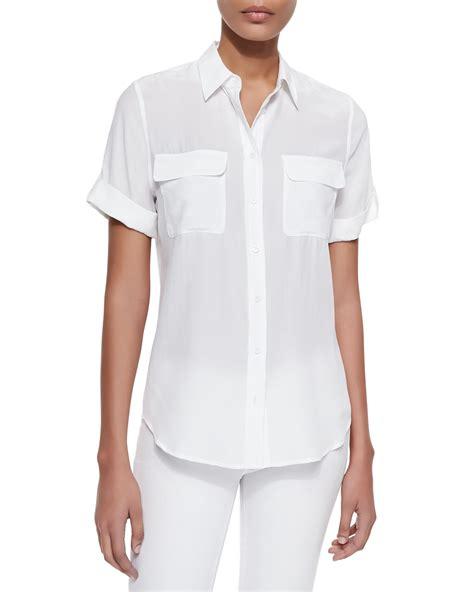 equipment slim signature blouse equipment sleeve slim signature silk blouse in white