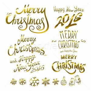 Merry Xmas Schriftzug : dourado alegre natal feliz ano novo 2016 ilustra o de vetor ruslan romanchik ~ Buech-reservation.com Haus und Dekorationen
