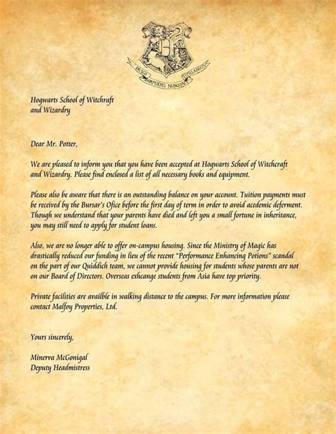 hogwarts acceptance letter text contesting wiki