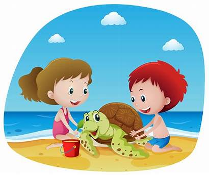 Beach Turtle Sea Children Vector Clip Illustration