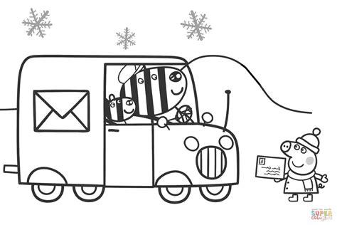 peppa waits  zuzu  zaza  send  xmas card coloring page  printable coloring pages