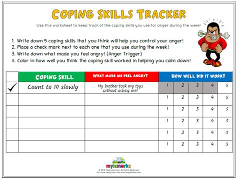coping skills tracker anger