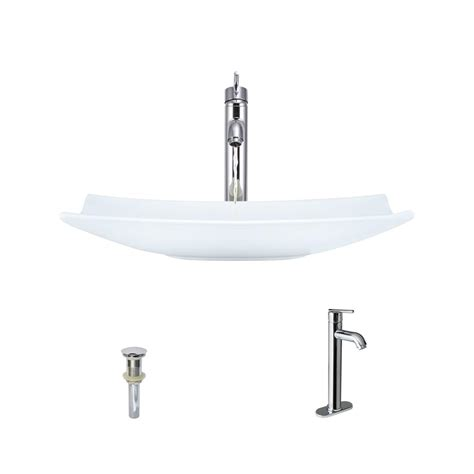 and the kitchen sink mr direct porcelain vessel sink in white with 718 faucet 4064