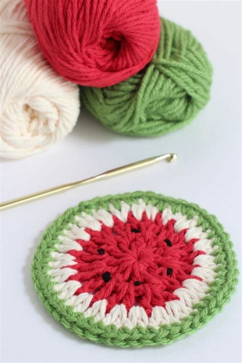 crochet watermelon coasters  summer sippin