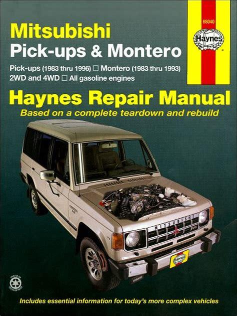 hayes car manuals 1996 mitsubishi truck user handbook mitsubishi pickup montero repair manual 1983 1996 haynes 68040