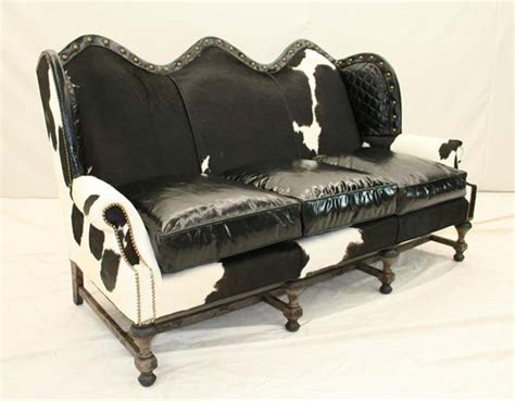 black  white cowhide sofa western passion