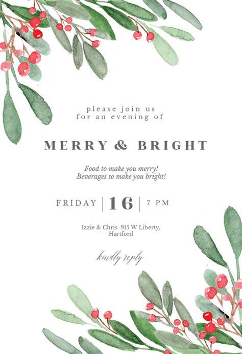 holidays greenery christmas invitation template