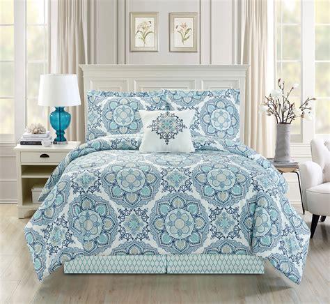 5 piece medallion floral blue teal white comforter set