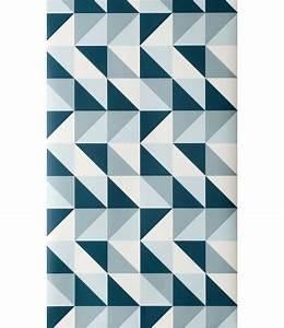 Tapis Bleu Petrole : papier peint remix 1 rouleau larg 53 cm bleu p trole bleu clair blanc ferm living ~ Teatrodelosmanantiales.com Idées de Décoration