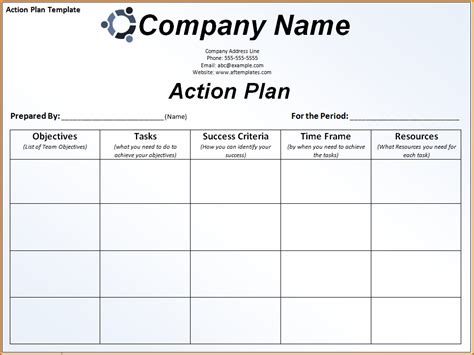 action plan template  authorizationlettersorg