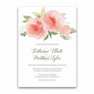 watercolor floral bohemian wedding invitations coral peach With beautiful wedding invitation watercolor flowers
