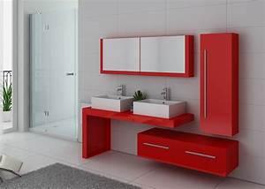 Meuble Salle De Bain Bois Double Vasque : meuble double vasque rouge coquelicot dis9350co meuble double vasque suspendu design ~ Melissatoandfro.com Idées de Décoration