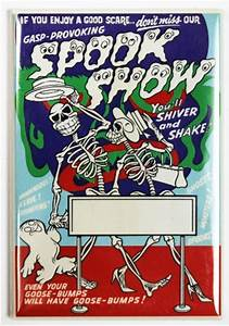 Plymouth Rock Insurance Company Spook Show Fridge Magnet Vintage Style Movie Show Poster