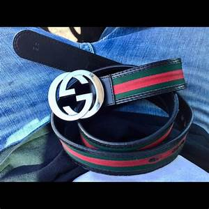 60% off Gucci Other - NEW GUCCI Belt Authentic Black Red ...