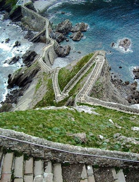 Stairs Above The Sea Aketx Basque County Spain