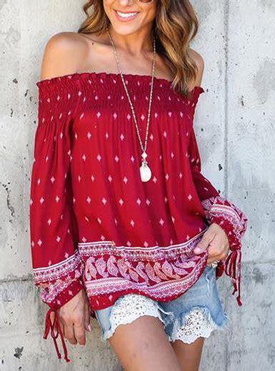 womens  shoulder boho blouse red white