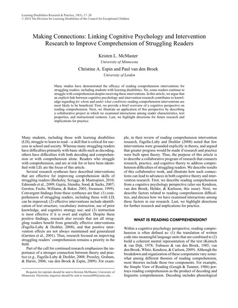 (pdf) Making Connections Linking Cognitive Psychology And Intervention Research To Improve