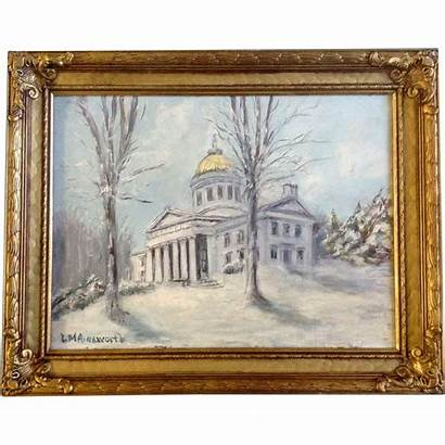 Oil Painting Board Signed Vermont Building Capital